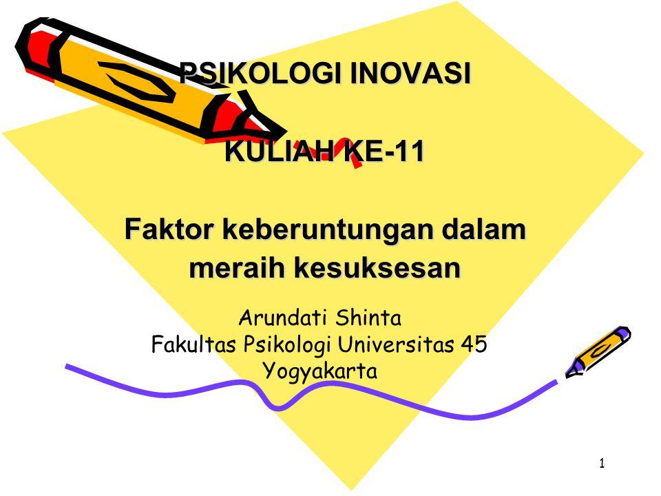 1 PSIKOLOGI INOVASI KULIAH KE-11 Faktor keberuntungan dalam meraih kesuksesan Arundati Shinta Fakultas Psikologi Universitas 45 Yogyakarta