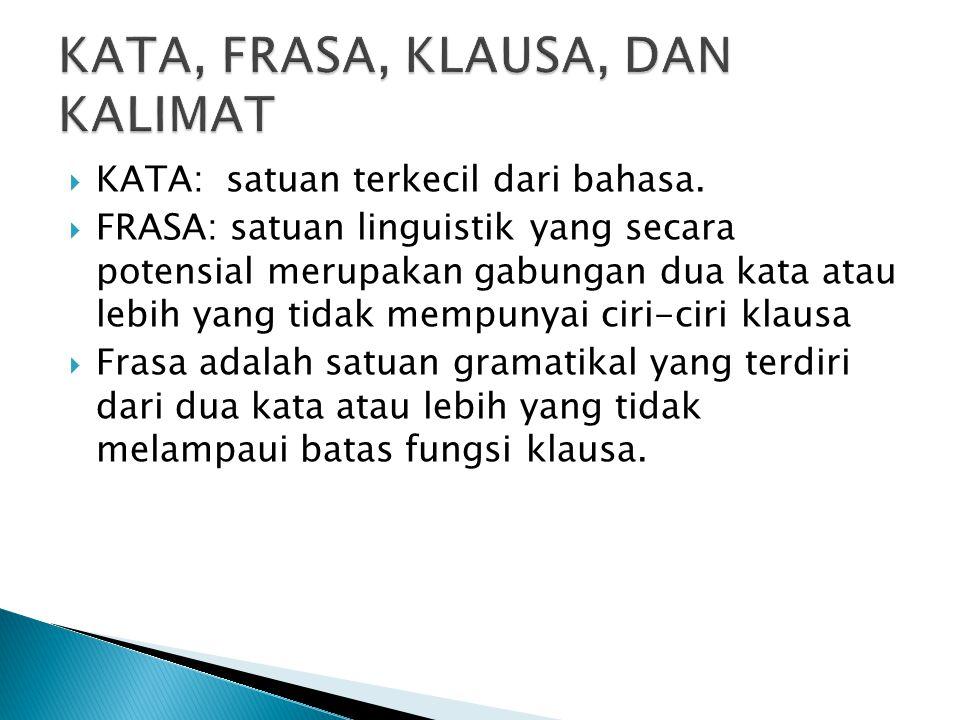  KATA: satuan terkecil dari bahasa.  FRASA: satuan linguistik yang secara potensial merupakan gabungan dua kata atau lebih yang tidak mempunyai ciri