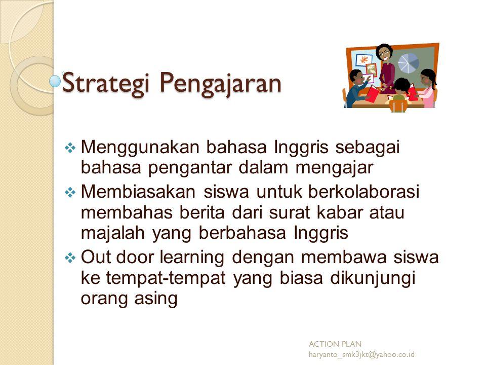 Strategi Pengajaran MMenggunakan bahasa Inggris sebagai bahasa pengantar dalam mengajar MMembiasakan siswa untuk berkolaborasi membahas berita dari surat kabar atau majalah yang berbahasa Inggris OOut door learning dengan membawa siswa ke tempat-tempat yang biasa dikunjungi orang asing