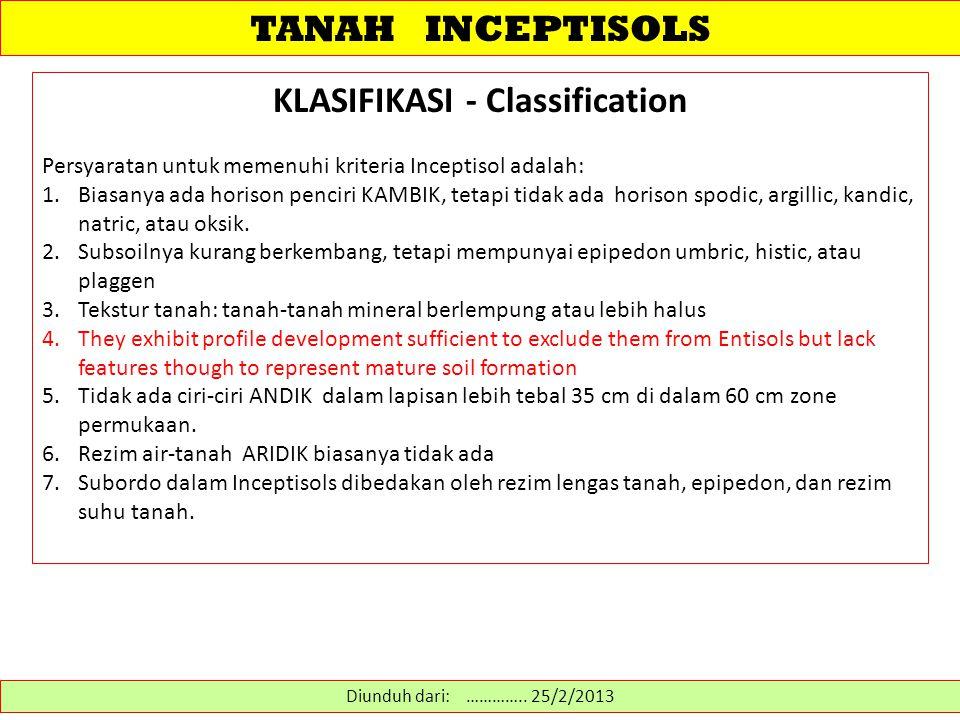 TANAH INCEPTISOLS KLASIFIKASI - Classification Persyaratan untuk memenuhi kriteria Inceptisol adalah: 1.Biasanya ada horison penciri KAMBIK, tetapi ti