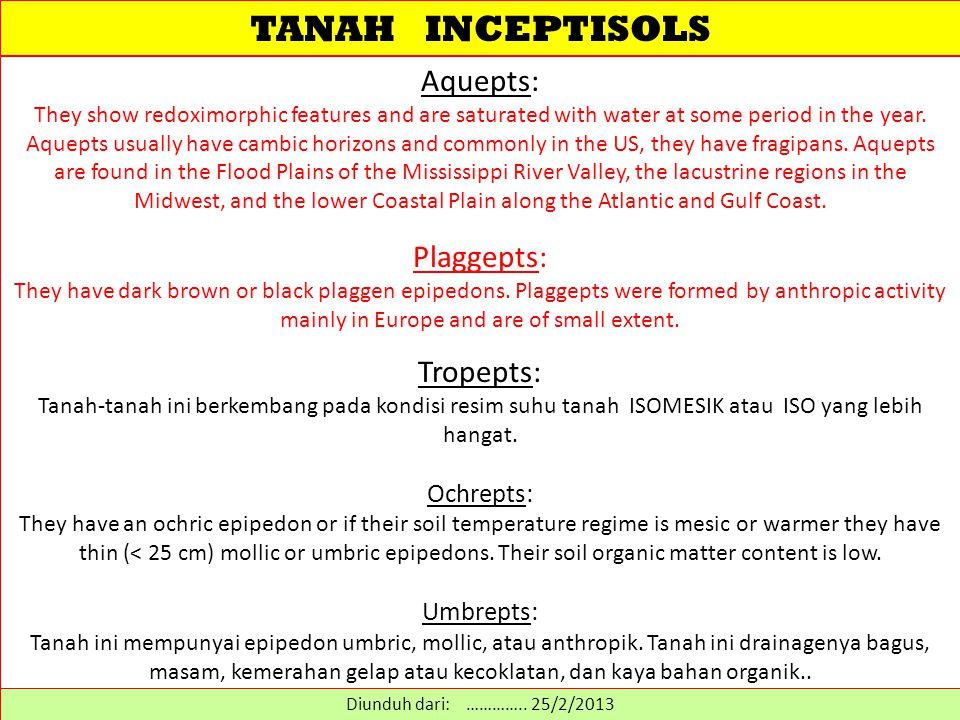 TANAH INCEPTISOLS Aquepts: They show redoximorphic features and are saturated with water at some period in the year.