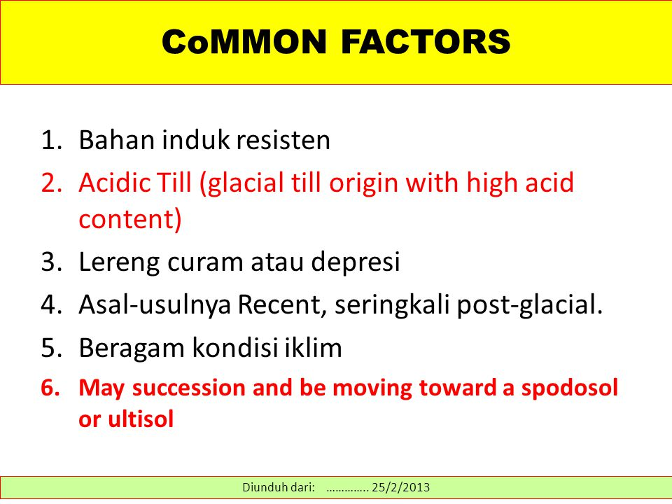 CoMMON FACTORS 1.Bahan induk resisten 2.Acidic Till (glacial till origin with high acid content) 3.Lereng curam atau depresi 4.Asal-usulnya Recent, seringkali post-glacial.