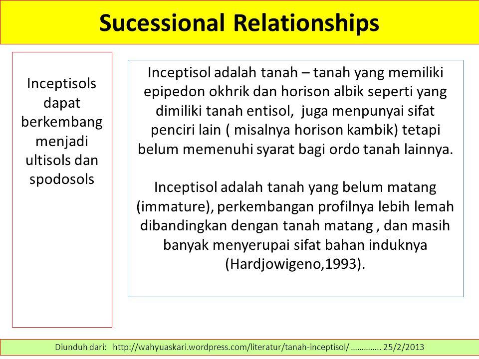 Sucessional Relationships Inceptisols dapat berkembang menjadi ultisols dan spodosols Diunduh dari: http://wahyuaskari.wordpress.com/literatur/tanah-i