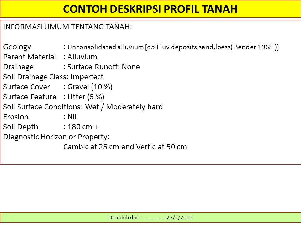 CONTOH DESKRIPSI PROFIL TANAH Diunduh dari: ………….. 27/2/2013 INFORMASI UMUM TENTANG TANAH: Geology: Unconsolidated alluvium [q5 Fluv.deposits,sand,loe