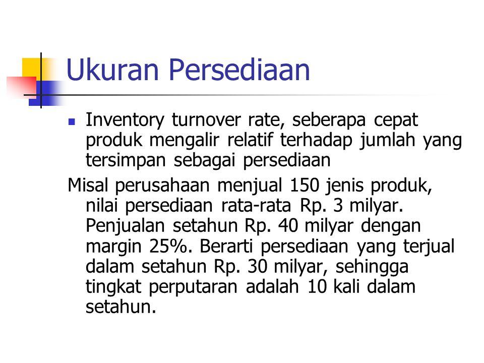 Ukuran Persediaan Inventory turnover rate, seberapa cepat produk mengalir relatif terhadap jumlah yang tersimpan sebagai persediaan Misal perusahaan m