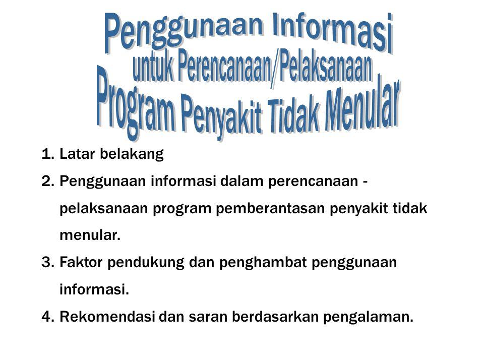 1.Latar belakang 2.Penggunaan informasi dalam perencanaan - pelaksanaan program pemberantasan penyakit tidak menular.
