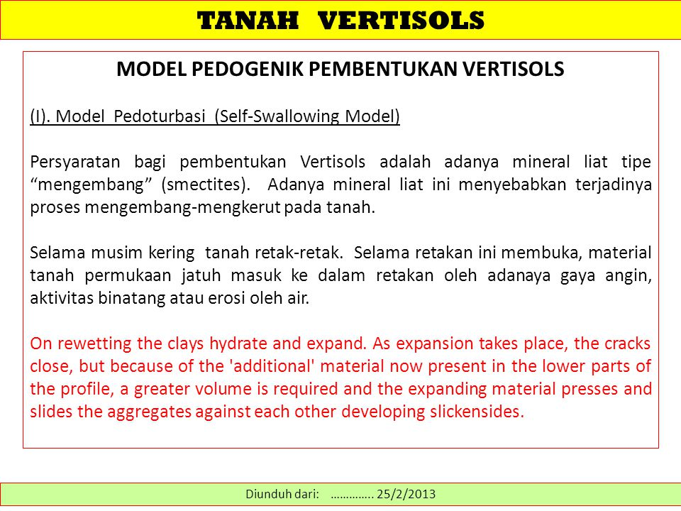 TANAH VERTISOLS MODEL PEDOGENIK PEMBENTUKAN VERTISOLS (I).