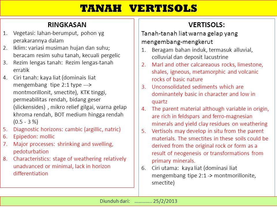 TANAH VERTISOLS Vertisols mempunyai kandungan mineral liat tipe mengembang yang sangat tinggi.