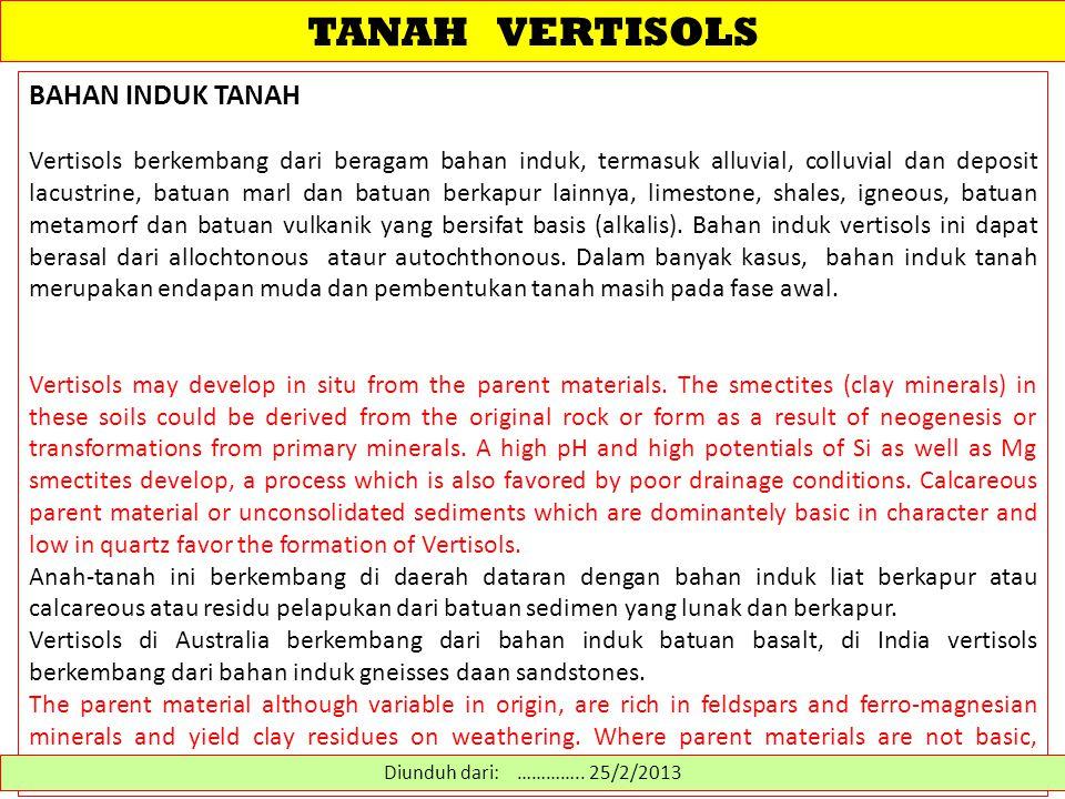 TANAH VERTISOLS SUB-ORDO 1.Aquerts - Vertisols with a water table at or near the surface for much of the year 2.Cryerts - Vertisols di daerah iklim dingin 3.Xererts - temperate Vertisols with very dry summers and moist winters 4.Torrerts - Vertisols di daerah iklim kering 5.Usterts - Vertisols di daerah iklim semiarid dan subhumid 6.Uderts - Vertisols di daerah iklim basah Diunduh dari: http://www.cals.uidaho.edu/soilorders/vertisols%20suborders.htm …………..