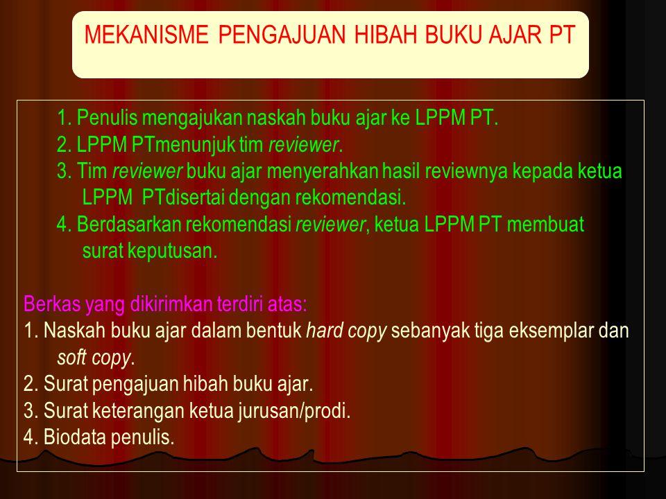1. Penulis mengajukan naskah buku ajar ke LPPM PT. 2. LPPM PTmenunjuk tim reviewer. 3. Tim reviewer buku ajar menyerahkan hasil reviewnya kepada ketua