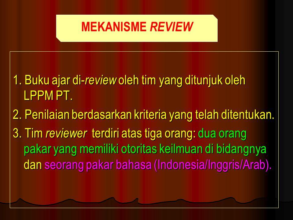 1. Buku ajar di- review oleh tim yang ditunjuk oleh LPPM PT. 2. Penilaian berdasarkan kriteria yang telah ditentukan. 3. Tim reviewer terdiri atas tig