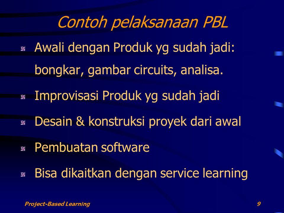 Project-Based Learning9 Contoh pelaksanaan PBL Awali dengan Produk yg sudah jadi: bongkar, gambar circuits, analisa. Improvisasi Produk yg sudah jadi