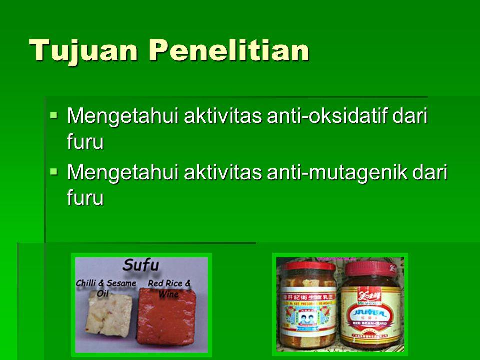 Kesimpulan  Furu, makanan tadisional cina yang merupakan hasil fermentasi kedelai, mempunyai sifat antioksidatif dan anti mutagenik.