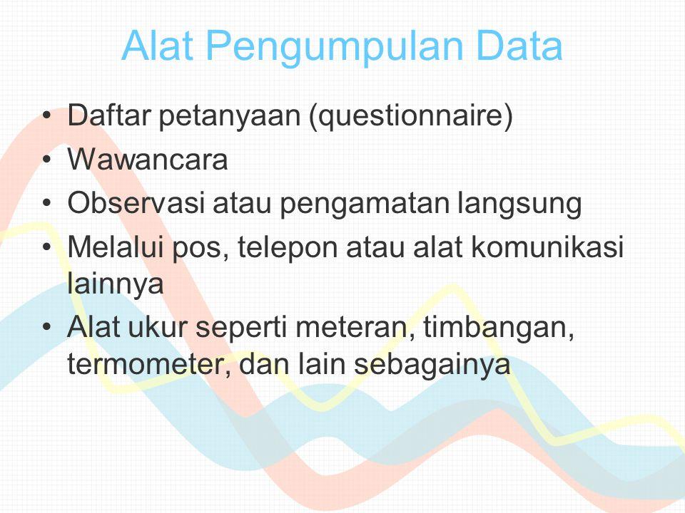 Alat Pengumpulan Data Daftar petanyaan (questionnaire) Wawancara Observasi atau pengamatan langsung Melalui pos, telepon atau alat komunikasi lainnya