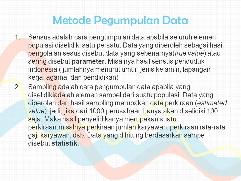 Metode Pegumpulan Data 1.Sensus adalah cara pengumpulan data apabila seluruh elemen populasi diselidiki satu persatu. Data yang diperoleh sebagai hasi