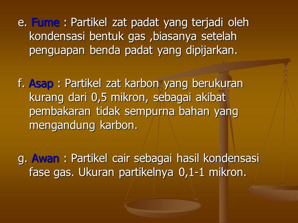 e. Fume : Partikel zat padat yang terjadi oleh kondensasi bentuk gas,biasanya setelah penguapan benda padat yang dipijarkan. f. Asap : Partikel zat ka