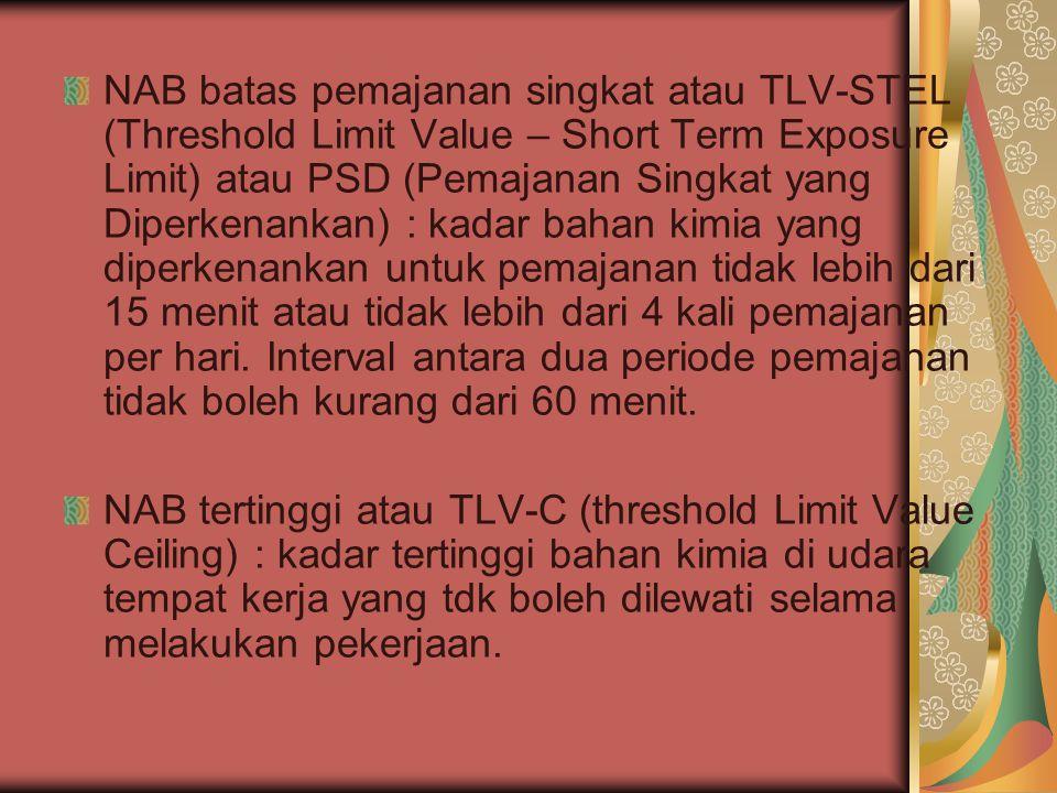 NAB batas pemajanan singkat atau TLV-STEL (Threshold Limit Value – Short Term Exposure Limit) atau PSD (Pemajanan Singkat yang Diperkenankan) : kadar bahan kimia yang diperkenankan untuk pemajanan tidak lebih dari 15 menit atau tidak lebih dari 4 kali pemajanan per hari.
