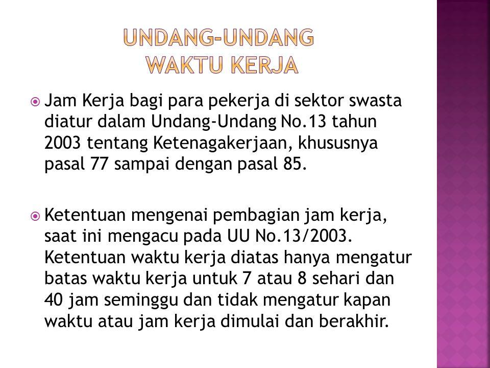  Jam Kerja bagi para pekerja di sektor swasta diatur dalam Undang-Undang No.13 tahun 2003 tentang Ketenagakerjaan, khususnya pasal 77 sampai dengan pasal 85.