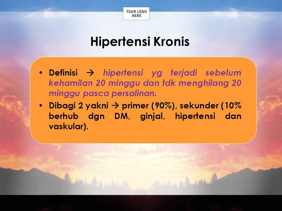 Hipertensi Kronis Definisi  hipertensi yg terjadi sebelum kehamilan 20 minggu dan tdk menghilang 20 minggu pasca persalinan. Dibagi 2 yakni  primer