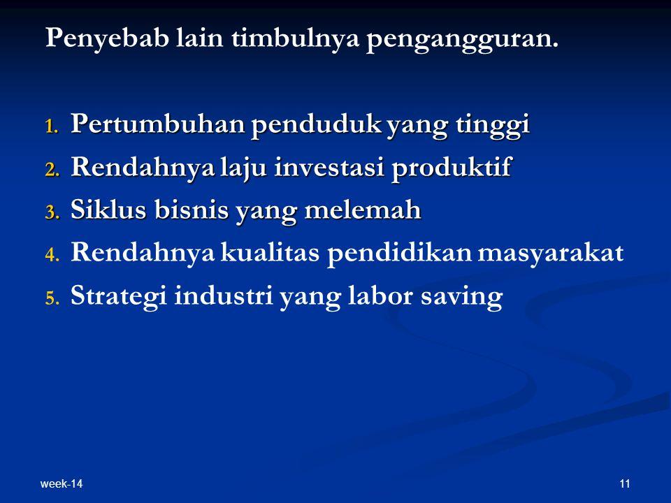 week-14 11 Penyebab lain timbulnya pengangguran. 1. Pertumbuhan penduduk yang tinggi 2. Rendahnya laju investasi produktif 3. Siklus bisnis yang melem