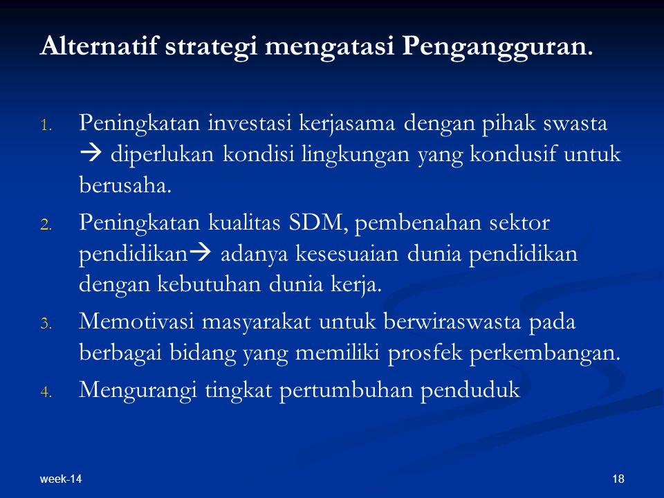 week-14 18 Alternatif strategi mengatasi Pengangguran. 1. 1. Peningkatan investasi kerjasama dengan pihak swasta  diperlukan kondisi lingkungan yang