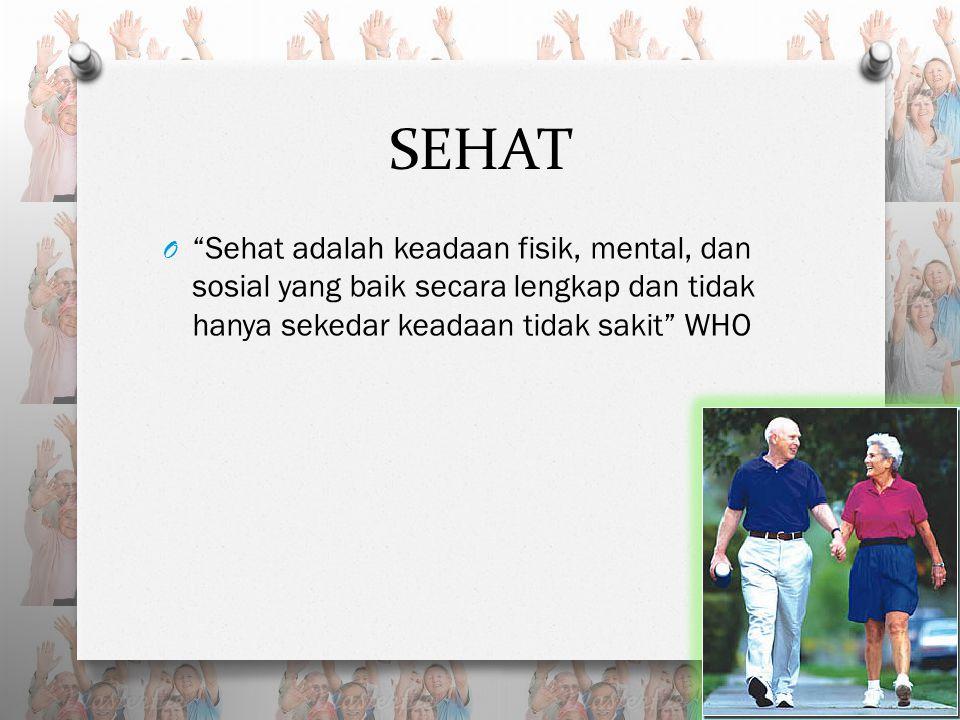 SEHAT O Sehat adalah keadaan fisik, mental, dan sosial yang baik secara lengkap dan tidak hanya sekedar keadaan tidak sakit WHO