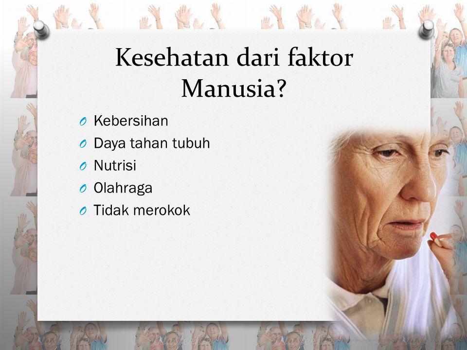 Kesehatan dari faktor Manusia O Kebersihan O Daya tahan tubuh O Nutrisi O Olahraga O Tidak merokok