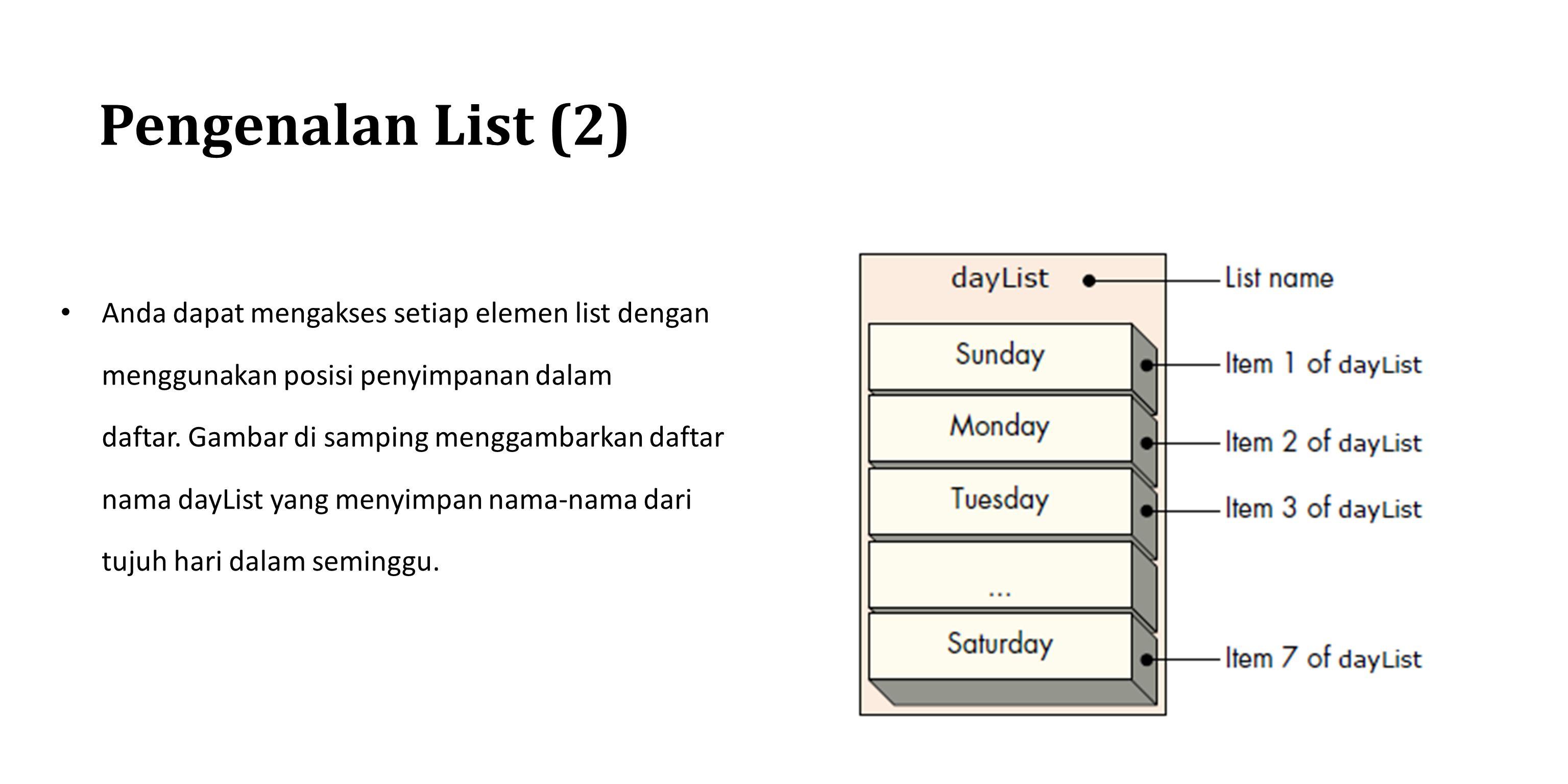 Pengenalan List (2) Anda dapat mengakses setiap elemen list dengan menggunakan posisi penyimpanan dalam daftar. Gambar di samping menggambarkan daftar