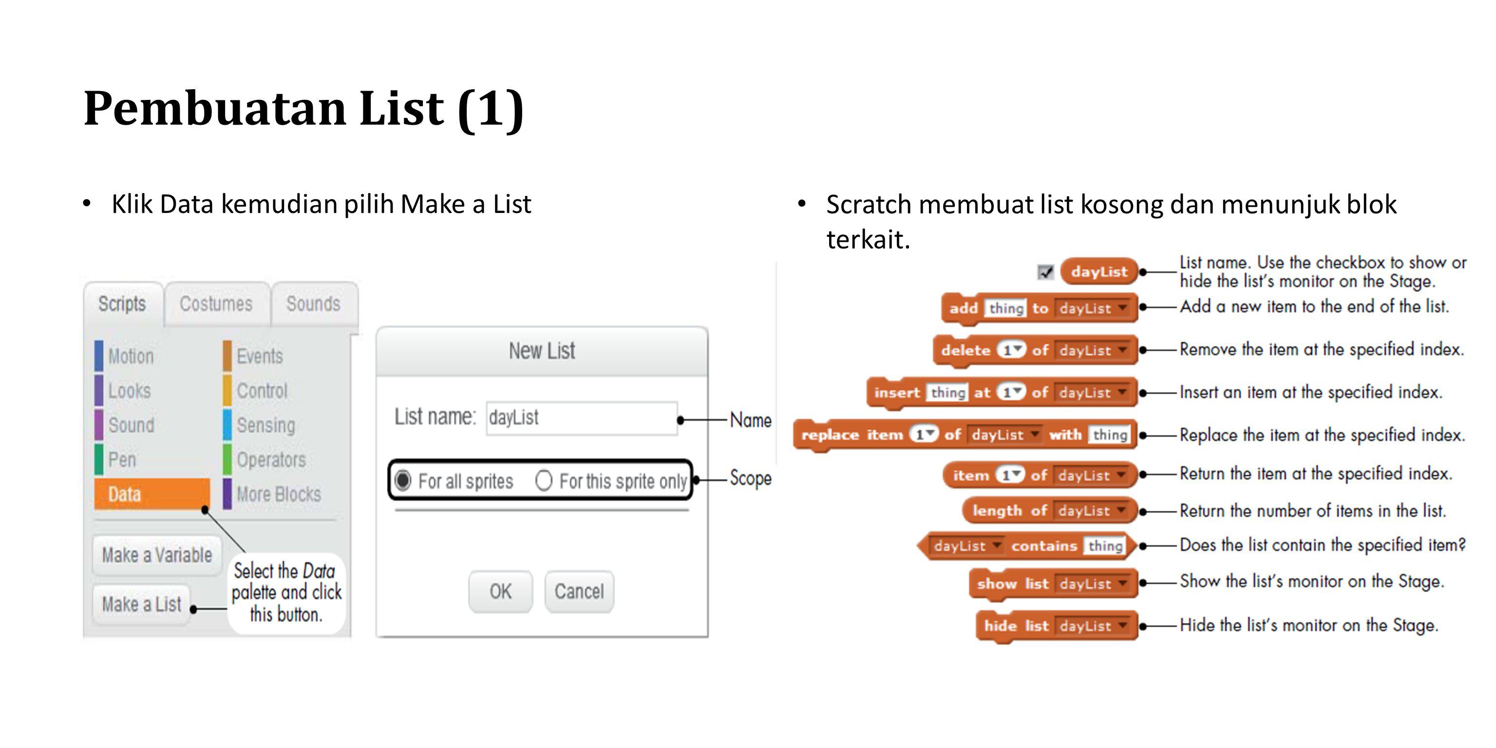 Pembuatan List (1) Klik Data kemudian pilih Make a List Scratch membuat list kosong dan menunjuk blok terkait.