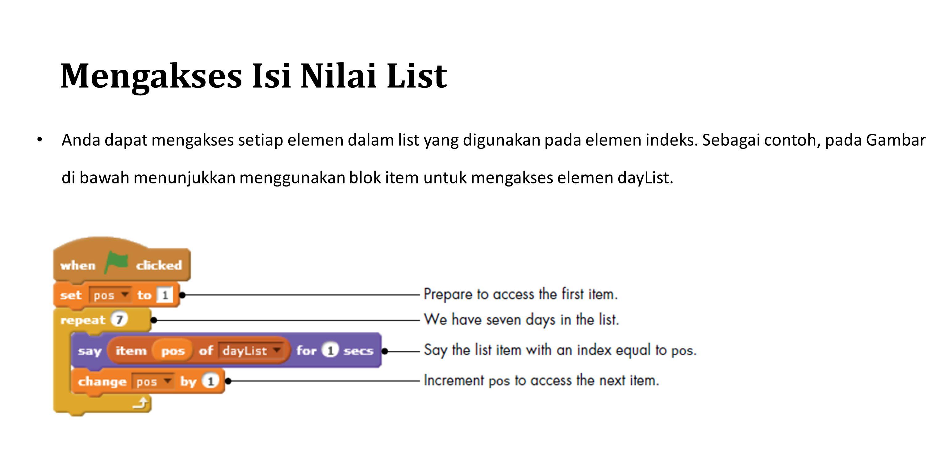 Mengakses Isi Nilai List Anda dapat mengakses setiap elemen dalam list yang digunakan pada elemen indeks. Sebagai contoh, pada Gambar di bawah menunju