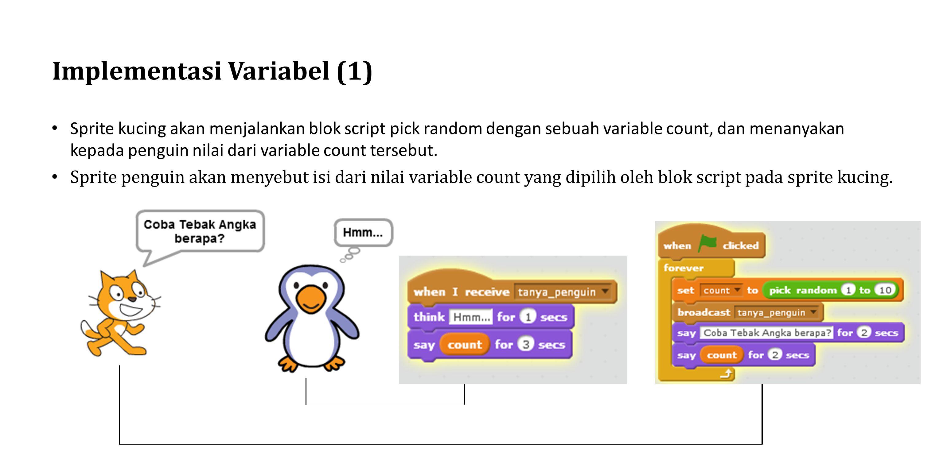 Implementasi Variabel (1) Sprite kucing akan menjalankan blok script pick random dengan sebuah variable count, dan menanyakan kepada penguin nilai dar