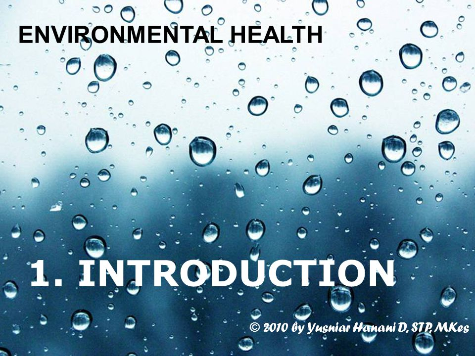 Page 1 1. INTRODUCTION ENVIRONMENTAL HEALTH © 2010 by Yusniar Hanani D, STP, MKes