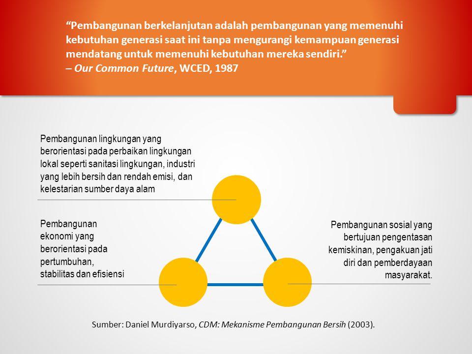 Sumber: Daniel Murdiyarso, CDM: Mekanisme Pembangunan Bersih (2003). Pembangunan lingkungan yang berorientasi pada perbaikan lingkungan lokal seperti