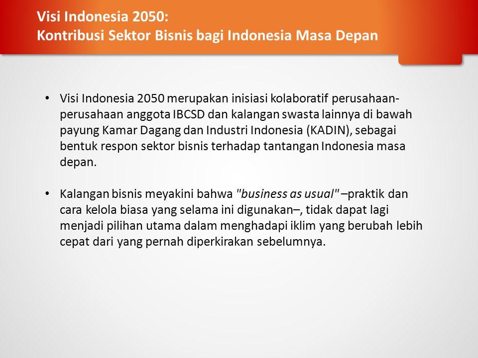 Bekerja dengan para CEO (Direksi) dari industri kunci menuju visi bersama yang berkelanjutan, mengidentifikasi bidang utama pembangunan Dipimpin oleh orang yang ditugaskan sebagai perwakilan perusahaan anggota IBCSD dan KADIN Indonesia Ahli kunci yang disepakati Pengembangan rencana kerja untuk memberikan visi Indonesia keberlanjutan dari setiap area spesifik Identifikasi tindakan untuk mencapai pembangunan berkelanjutan di setiap bidang utama yang diidentifikasi Menampung masukan akademisi, LSM dan pemerintah Meningkatkan perbedaan-perbedaan yang diidentifikasi oleh grup tertentu (lembaga kemasyarakatan) Mengusulkan arah aksi dan pemangku kepentingan untuk keterlibatan lebih lanjut Methodology: Dialogue Platform