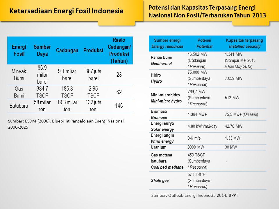 Energi Fosil Sumber Daya CadanganProduksi Rasio Cadangan/ Produksi (Tahun) Minyak Bumi 86.9 miliar barel 9.1 miliar barel 387 juta barel 23 Gas Bumi 3