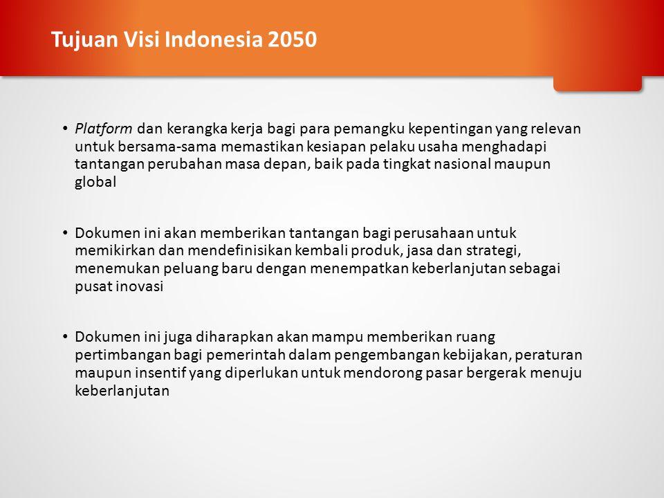 Mengidentifikasi Trend Indonesia - business-as-usual Mengidentifikasi kesenjangan antara hari ini dan 2050 Mengembangan sebuah visi, jalur (pathways) dan area aksi Mengklarifikasi perspektif bisnis Mengukur potensi pasar dan faktor yang memungkinkan Menyepakati tindakan dan langkah lanjutan Advokasi intens untuk mendukung aksi bisnis Kerangka Kerja Visi Indonesia 2050