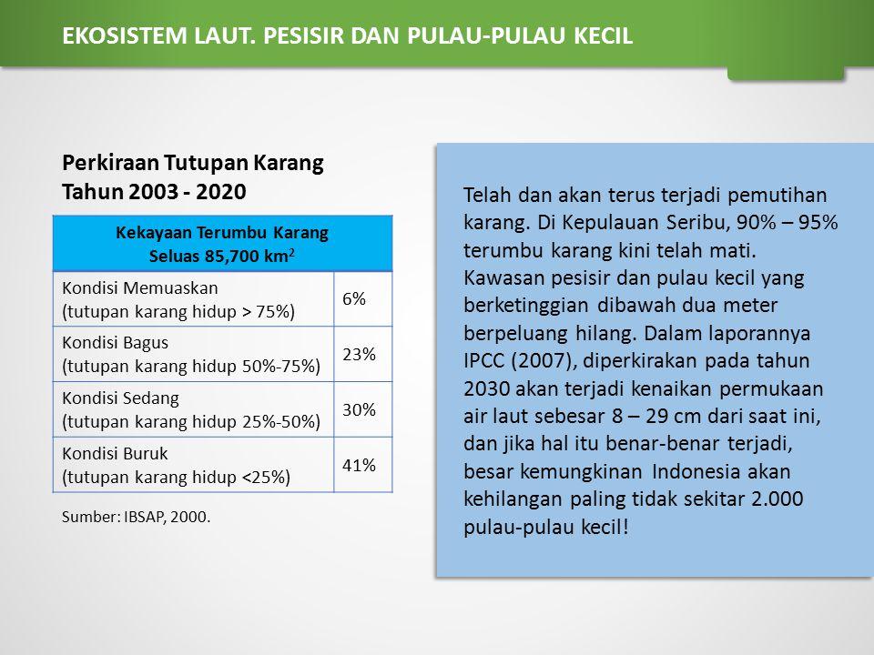 Kekayaan Terumbu Karang Seluas 85,700 km 2 Kondisi Memuaskan (tutupan karang hidup > 75%) 6% Kondisi Bagus (tutupan karang hidup 50%-75%) 23% Kondisi