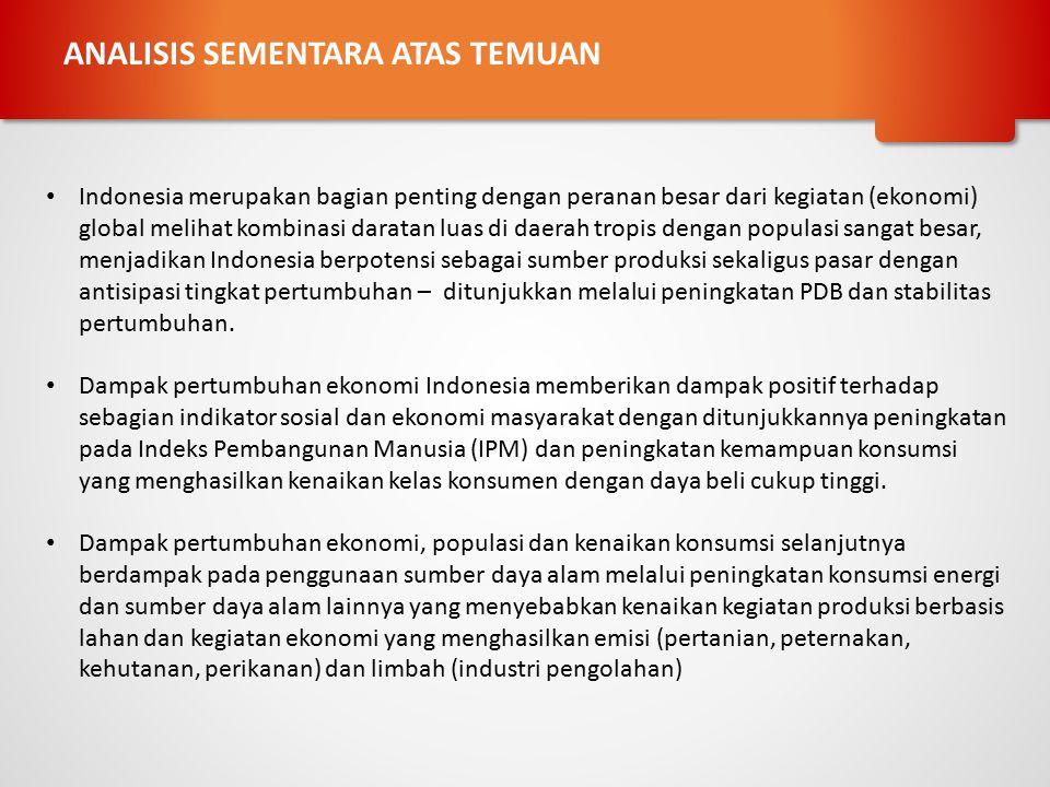 ANALISIS SEMENTARA ATAS TEMUAN Indonesia merupakan bagian penting dengan peranan besar dari kegiatan (ekonomi) global melihat kombinasi daratan luas d