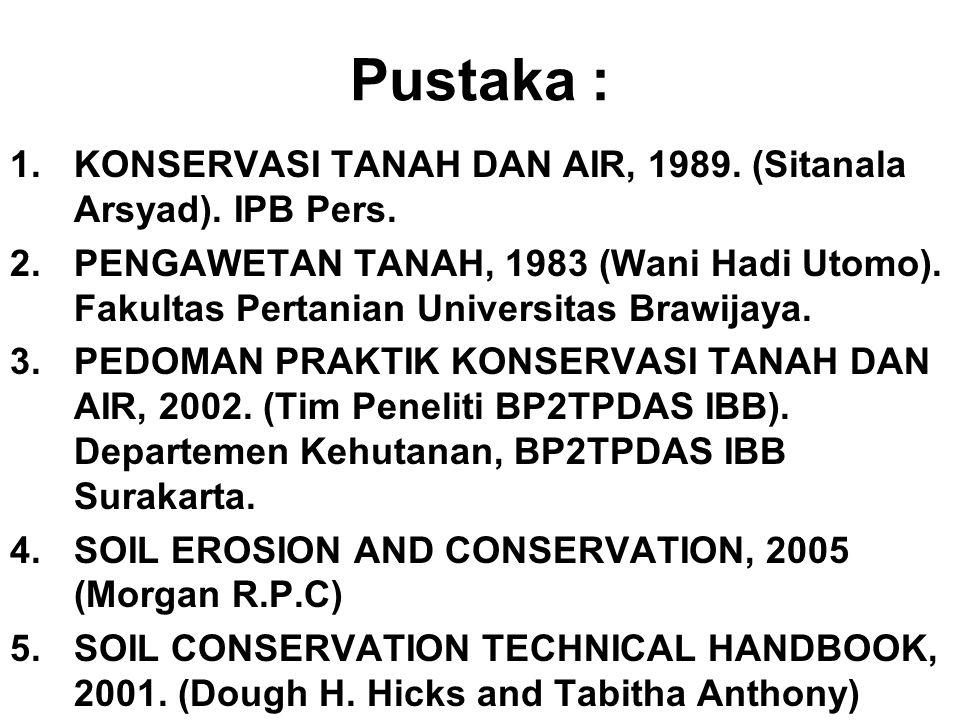Pustaka : 1.KONSERVASI TANAH DAN AIR, 1989. (Sitanala Arsyad). IPB Pers. 2.PENGAWETAN TANAH, 1983 (Wani Hadi Utomo). Fakultas Pertanian Universitas Br