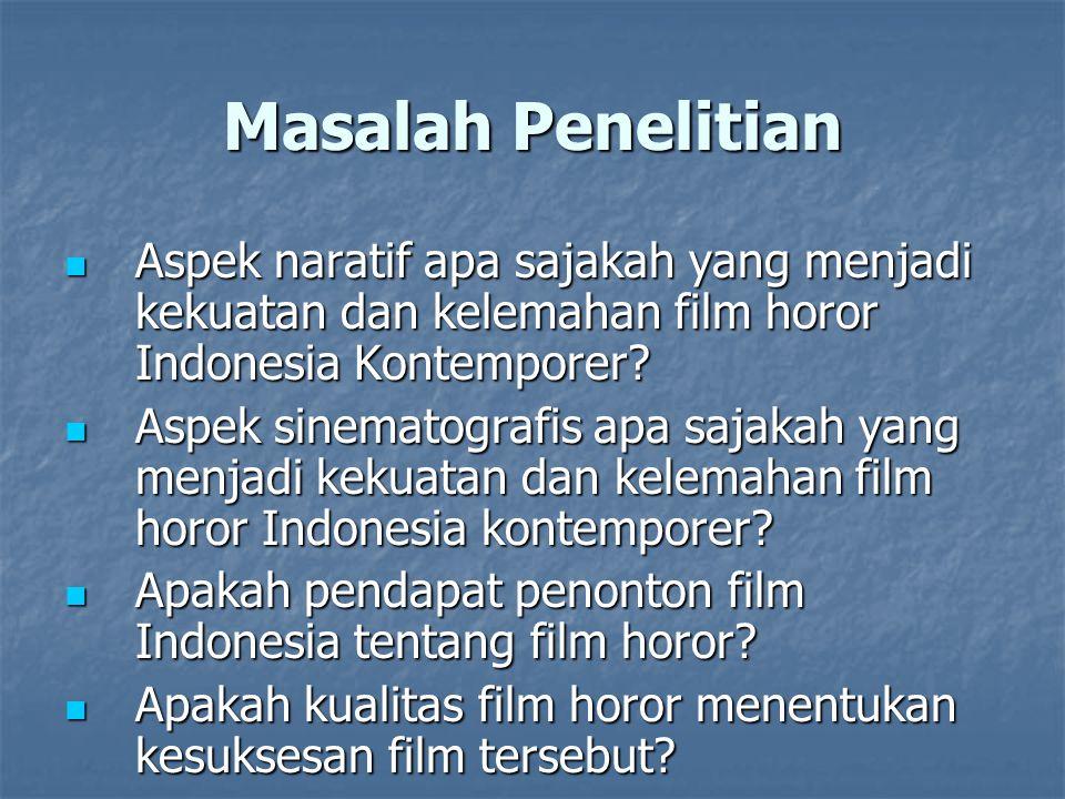 Masalah Penelitian Aspek naratif apa sajakah yang menjadi kekuatan dan kelemahan film horor Indonesia Kontemporer? Aspek naratif apa sajakah yang menj