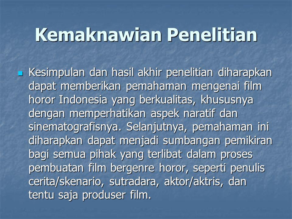 Kemaknawian Penelitian Kesimpulan dan hasil akhir penelitian diharapkan dapat memberikan pemahaman mengenai film horor Indonesia yang berkualitas, khu