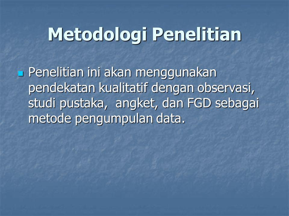 Metodologi Penelitian Penelitian ini akan menggunakan pendekatan kualitatif dengan observasi, studi pustaka, angket, dan FGD sebagai metode pengumpula