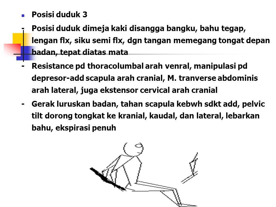 Posisi duduk 3 -Posisi duduk dimeja kaki disangga bangku, bahu tegap, lengan flx, siku semi flx, dgn tangan memegang tongat depan badan, tepat diatas