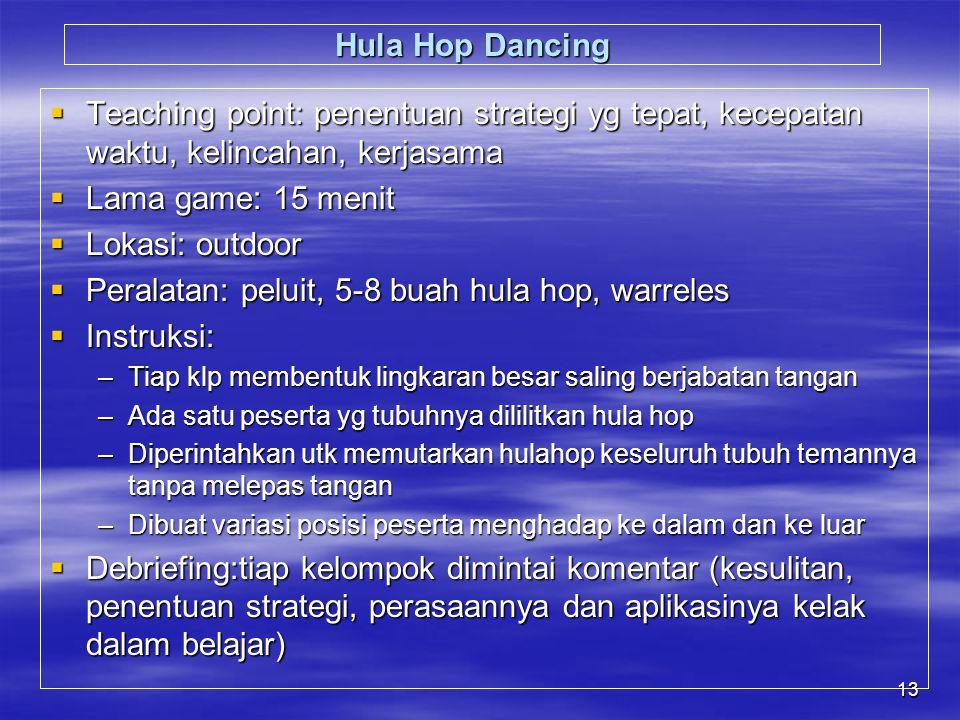 13 Hula Hop Dancing  Teaching point: penentuan strategi yg tepat, kecepatan waktu, kelincahan, kerjasama  Lama game: 15 menit  Lokasi: outdoor  Peralatan: peluit, 5-8 buah hula hop, warreles  Instruksi: –Tiap klp membentuk lingkaran besar saling berjabatan tangan –Ada satu peserta yg tubuhnya dililitkan hula hop –Diperintahkan utk memutarkan hulahop keseluruh tubuh temannya tanpa melepas tangan –Dibuat variasi posisi peserta menghadap ke dalam dan ke luar  Debriefing:tiap kelompok dimintai komentar (kesulitan, penentuan strategi, perasaannya dan aplikasinya kelak dalam belajar)
