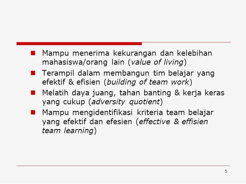 5 Mampu menerima kekurangan dan kelebihan mahasiswa/orang lain (value of living) Terampil dalam membangun tim belajar yang efektif & efisien (building of team work) Melatih daya juang, tahan banting & kerja keras yang cukup (adversity quotient) Mampu mengidentifikasi kriteria team belajar yang efektif dan efesien (effective & effisien team learning)