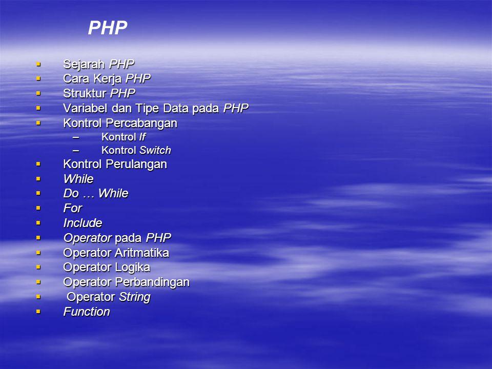  Sejarah PHP  Cara Kerja PHP  Struktur PHP  Variabel dan Tipe Data pada PHP  Kontrol Percabangan –Kontrol If –Kontrol Switch  Kontrol Perulangan  While  Do … While  For  Include  Operator pada PHP  Operator Aritmatika  Operator Logika  Operator Perbandingan  Operator String  Function PHP