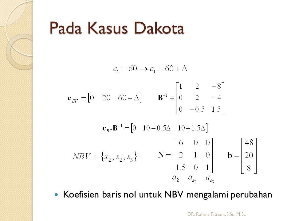 Pada Kasus Dakota DR. Rahma Fitriani, S.Si., M.Sc Koefisien baris nol untuk NBV mengalami perubahan