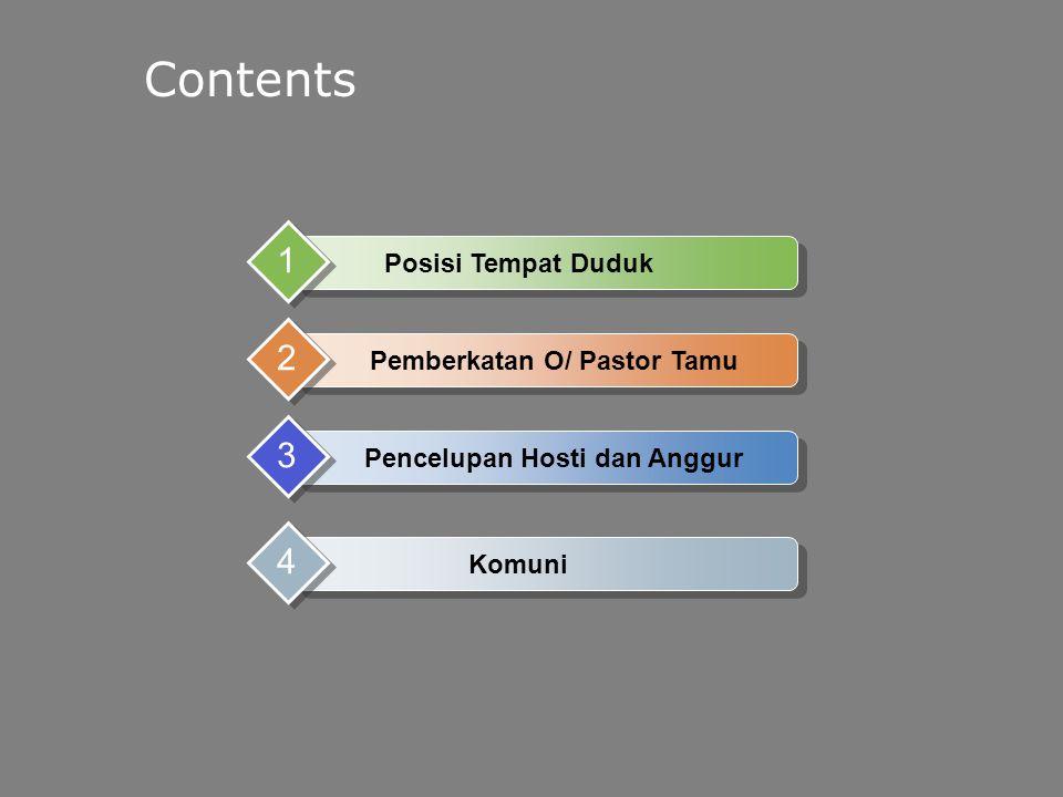 Contents Posisi Tempat Duduk 1 Pemberkatan O/ Pastor Tamu 2 Pencelupan Hosti dan Anggur 3 Komuni 4