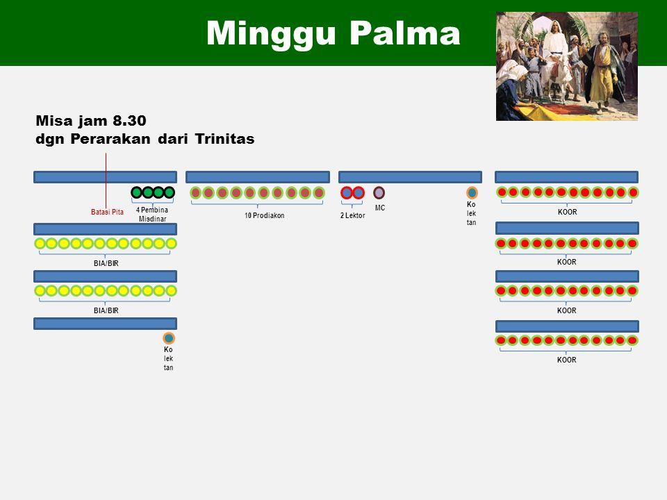 Minggu Palma Misa jam 8.30 dgn Perarakan dari Trinitas 4 Pembina Misdinar MC 2 Lektor 10 Prodiakon KOOR BIA/BIR Ko lek tan Ko lek tan Batasi Pita