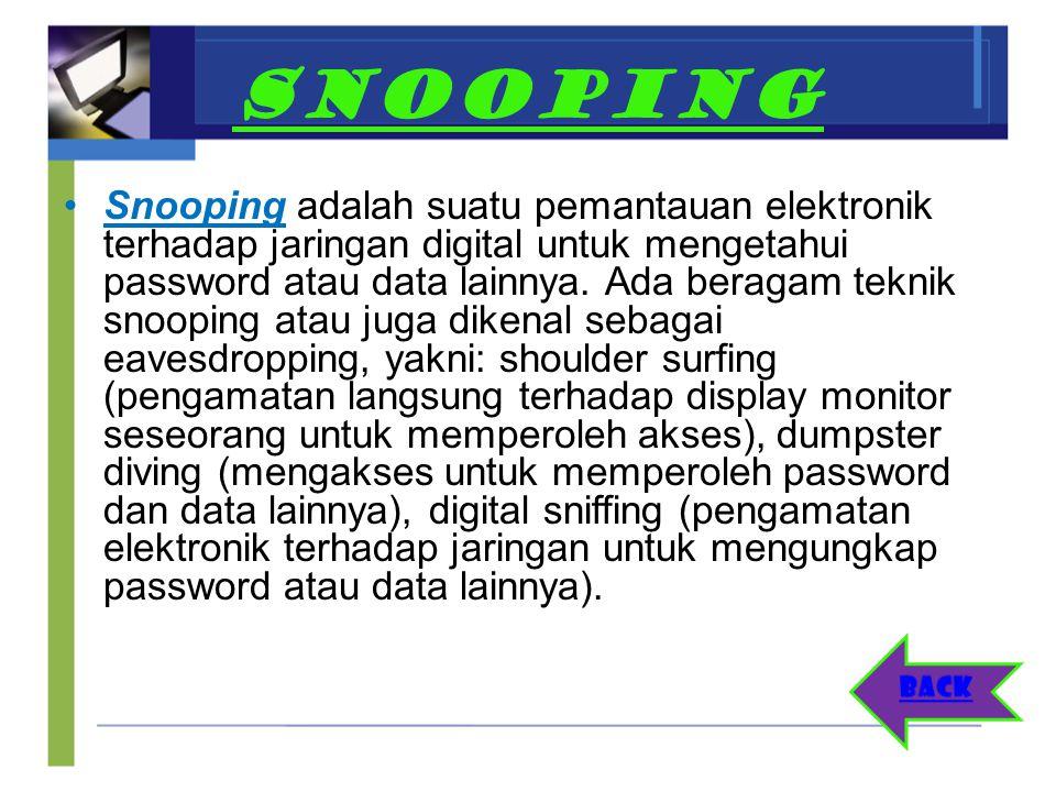 SNOOPING Snooping adalah suatu pemantauan elektronik terhadap jaringan digital untuk mengetahui password atau data lainnya. Ada beragam teknik snoopin